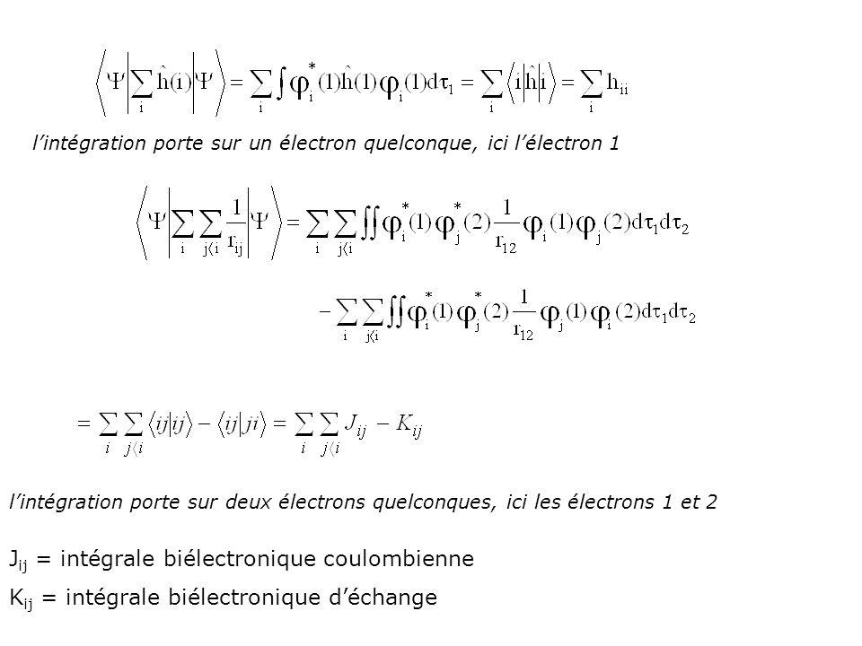 Jij = intégrale biélectronique coulombienne