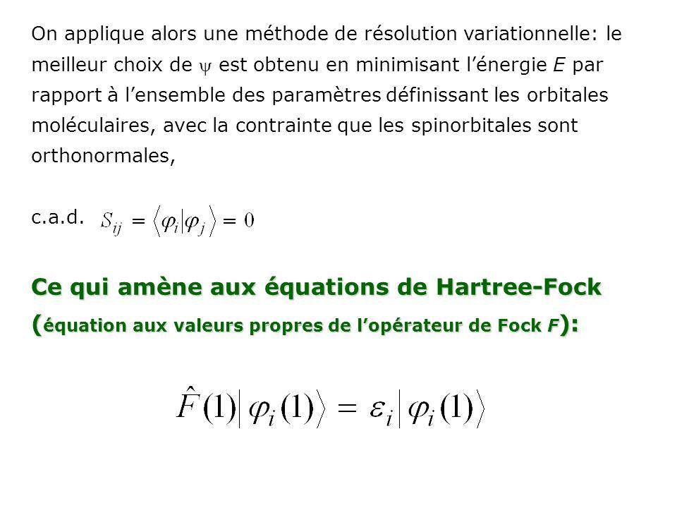 Ce qui amène aux équations de Hartree-Fock