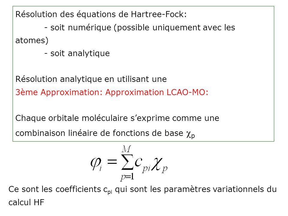 Résolution des équations de Hartree-Fock:
