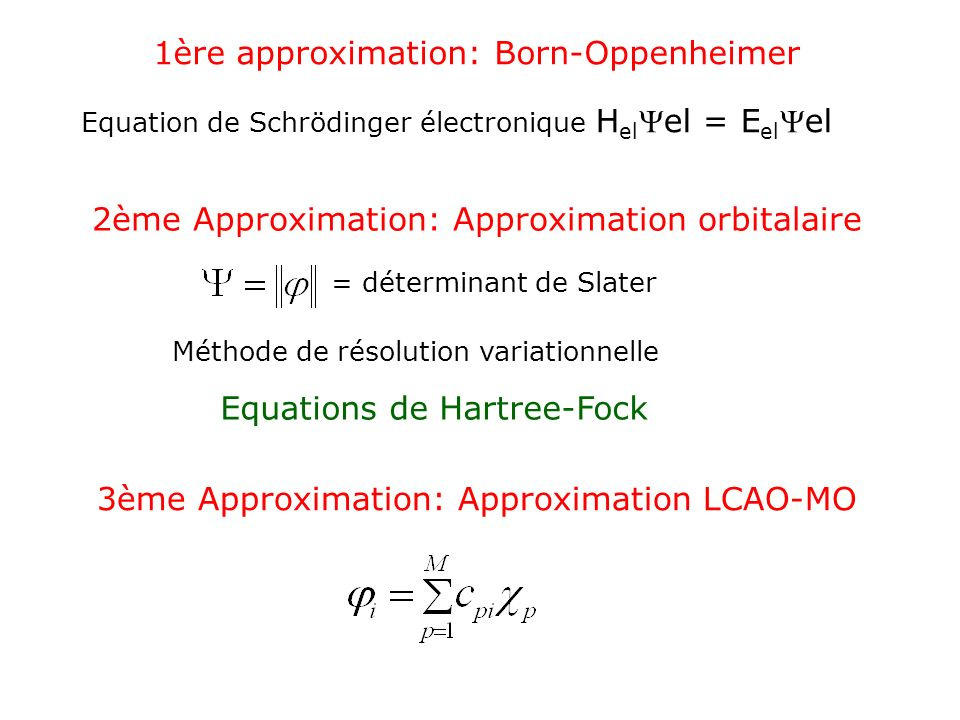 1ère approximation: Born-Oppenheimer