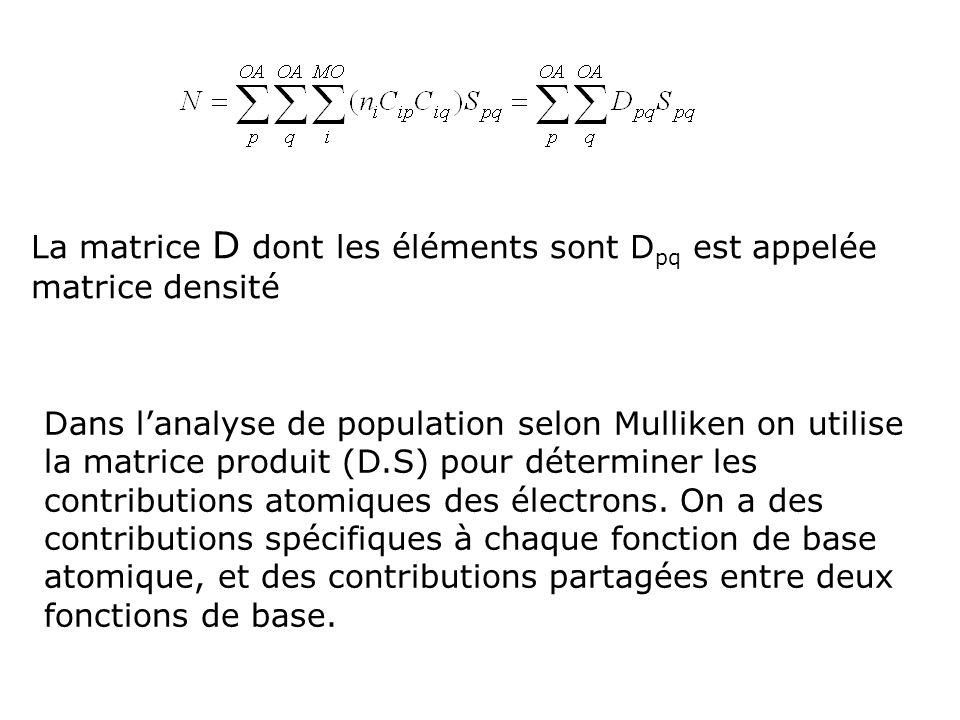 La matrice D dont les éléments sont Dpq est appelée matrice densité