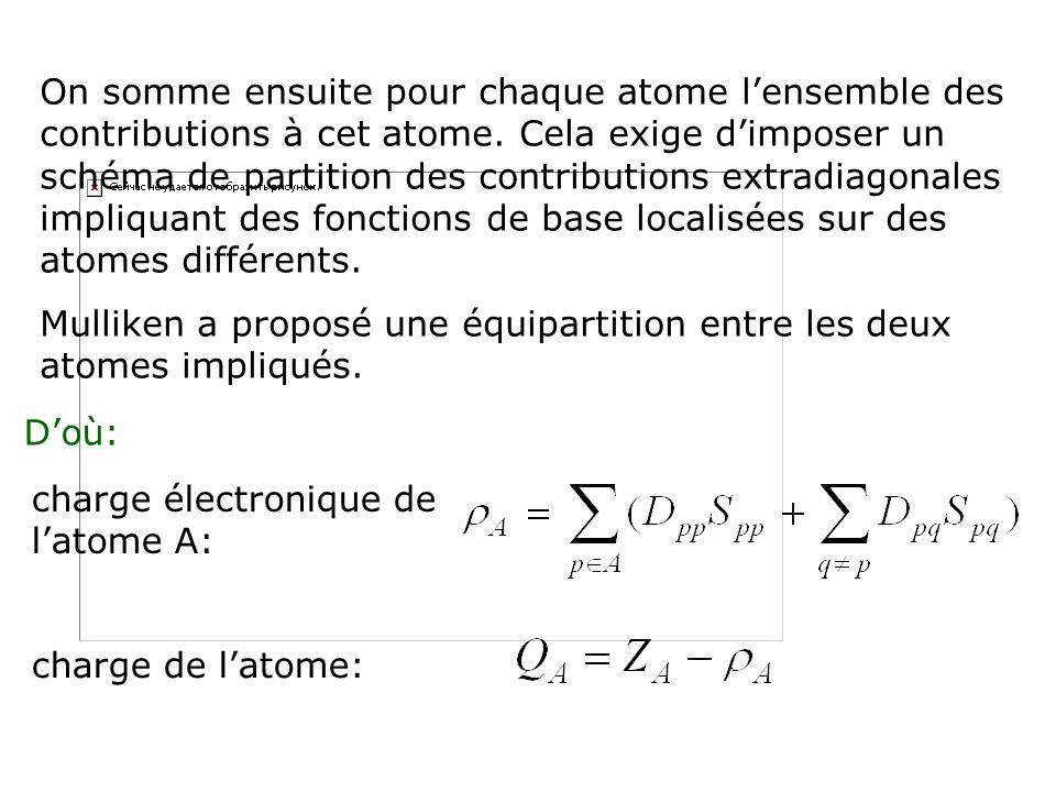On somme ensuite pour chaque atome l'ensemble des contributions à cet atome. Cela exige d'imposer un schéma de partition des contributions extradiagonales impliquant des fonctions de base localisées sur des atomes différents.