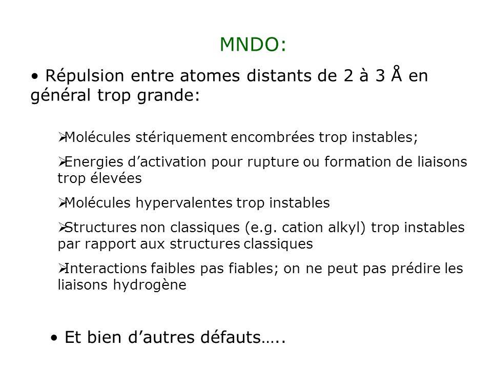 MNDO: Répulsion entre atomes distants de 2 à 3 Å en général trop grande: Molécules stériquement encombrées trop instables;
