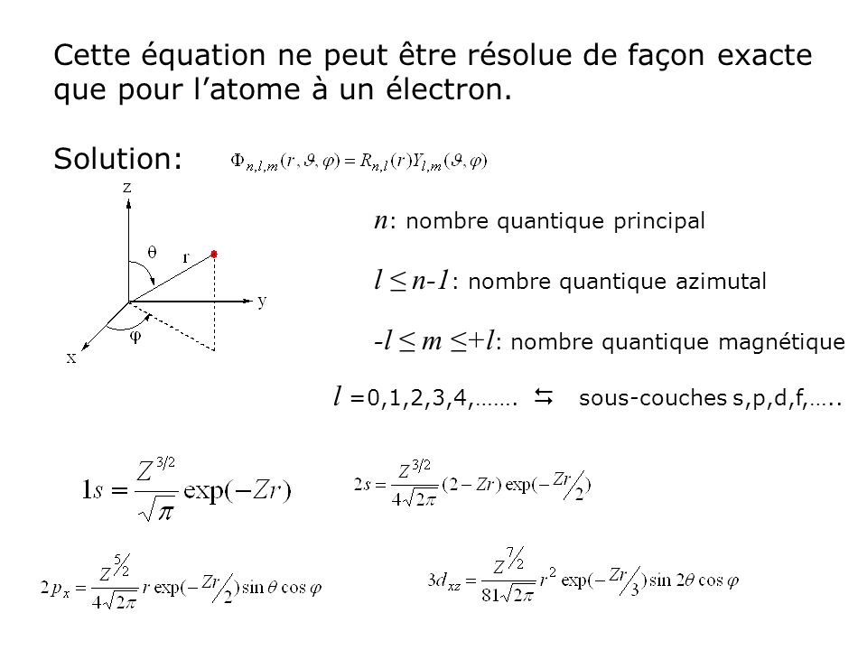 Cette équation ne peut être résolue de façon exacte