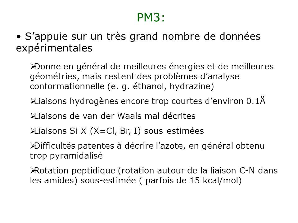 PM3: S'appuie sur un très grand nombre de données expérimentales