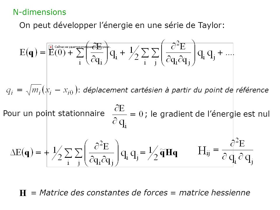 On peut développer l'énergie en une série de Taylor: