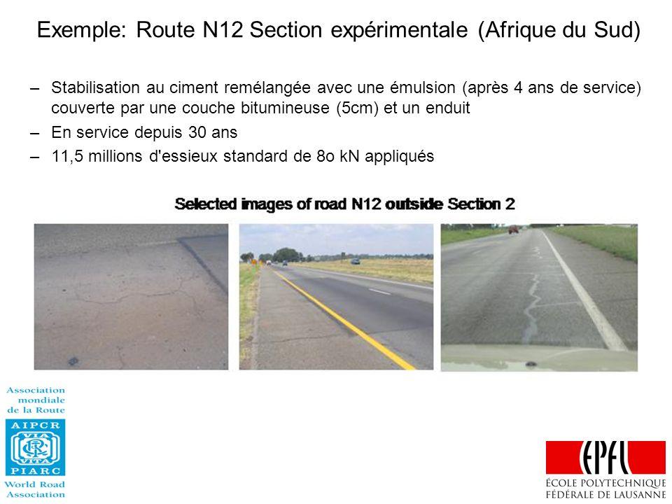 Exemple: Route N12 Section expérimentale (Afrique du Sud)