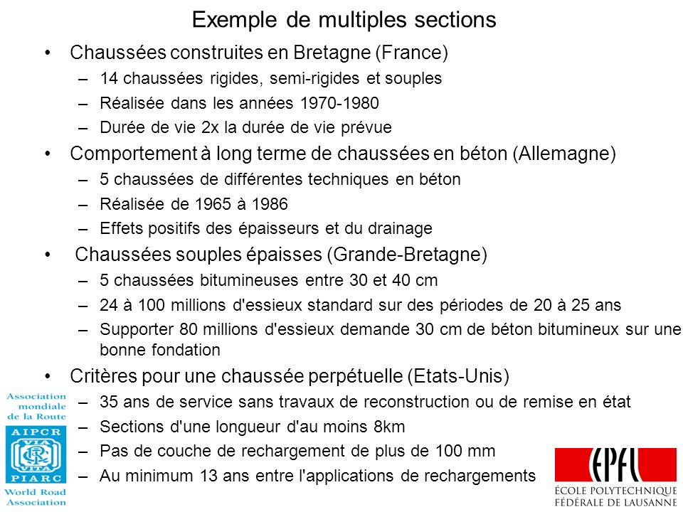 Exemple de multiples sections