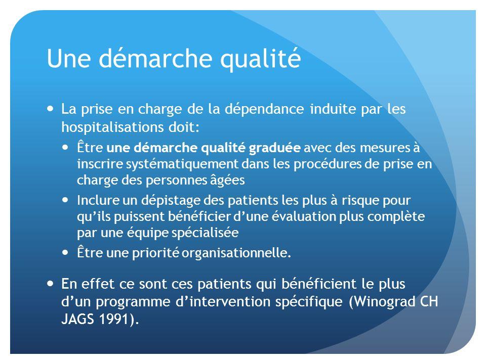 Une démarche qualité La prise en charge de la dépendance induite par les hospitalisations doit: