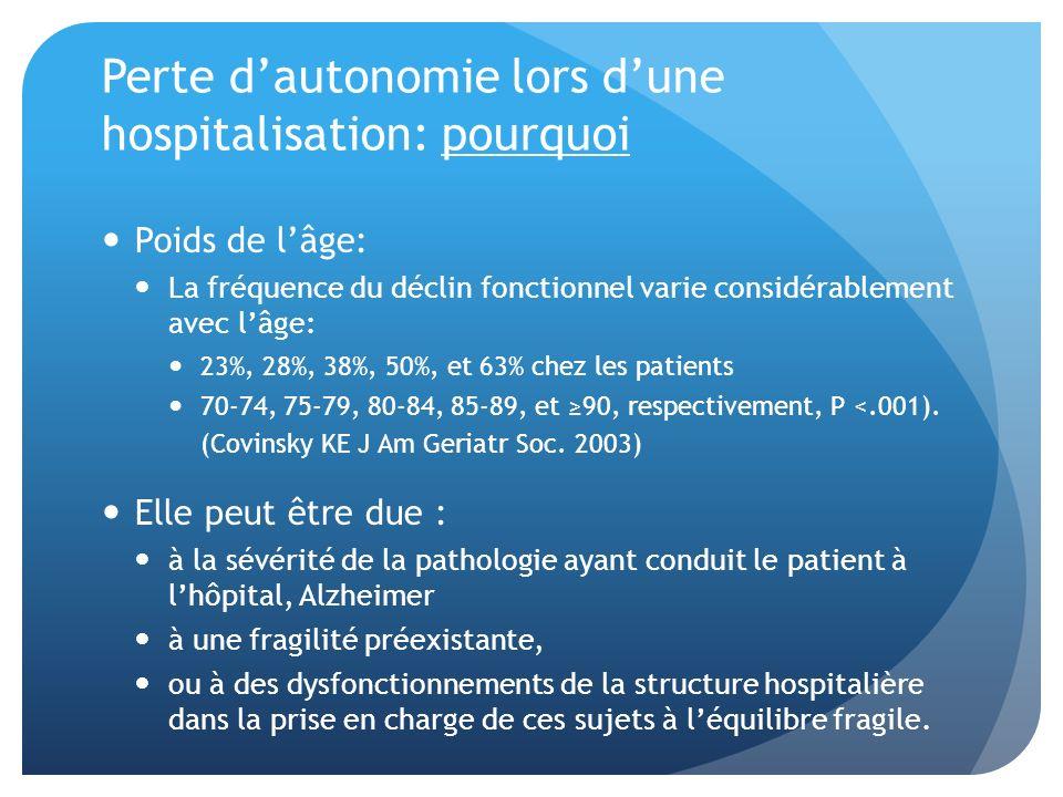 Perte d'autonomie lors d'une hospitalisation: pourquoi