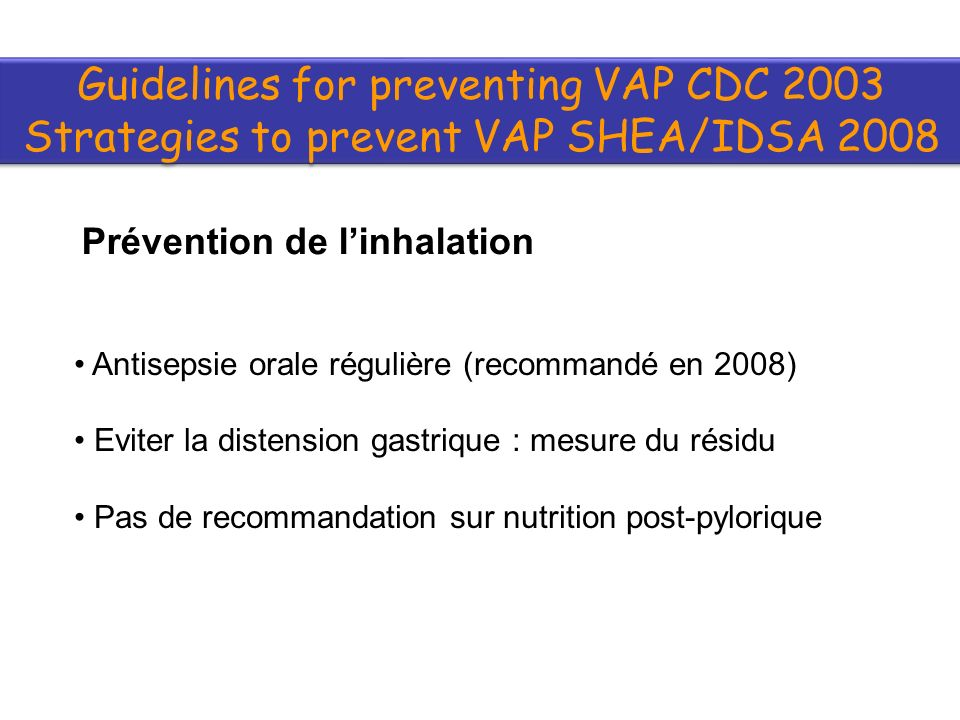 Guidelines for preventing VAP CDC 2003