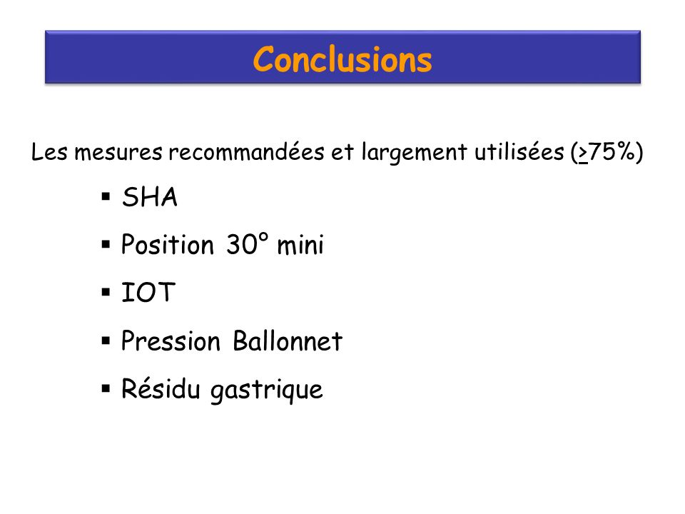 Conclusions SHA Position 30° mini IOT Pression Ballonnet