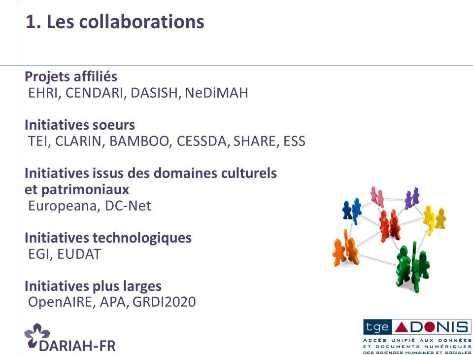 1. Les collaborations Projets affiliés EHRI, CENDARI, DASISH, NeDiMAH