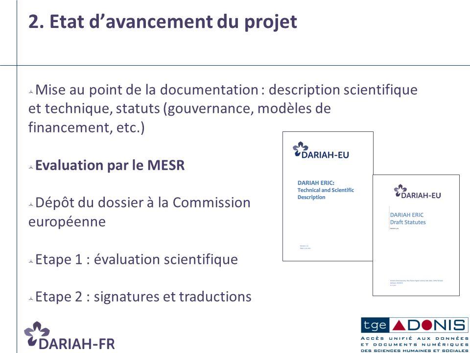 2. Etat d'avancement du projet