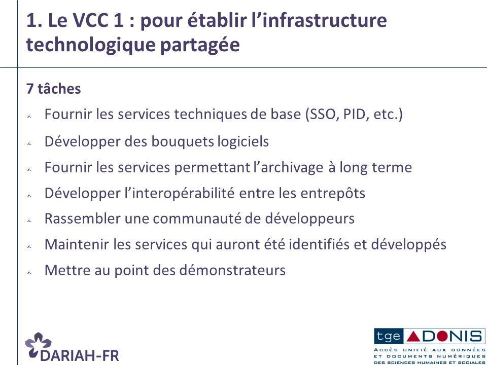 1. Le VCC 1 : pour établir l'infrastructure technologique partagée