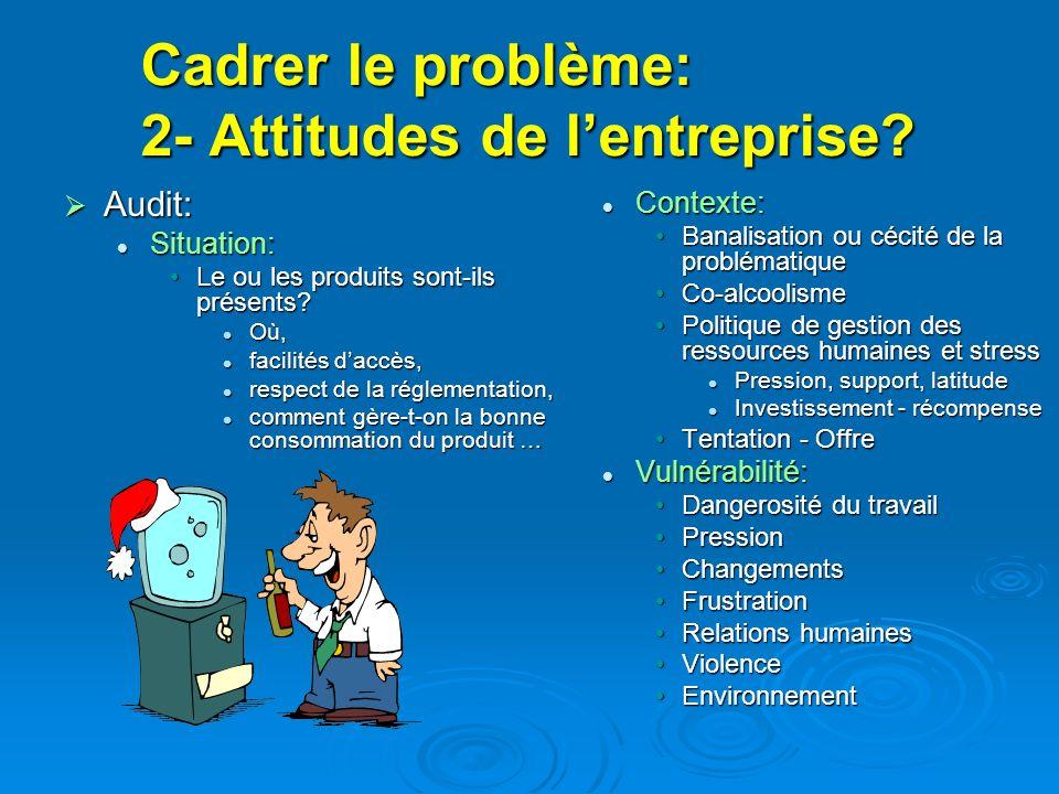 Cadrer le problème: 2- Attitudes de l'entreprise