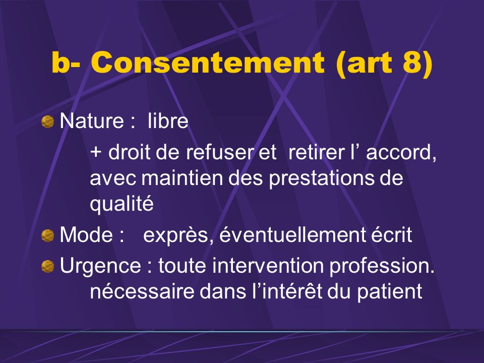 b- Consentement (art 8) Nature : libre