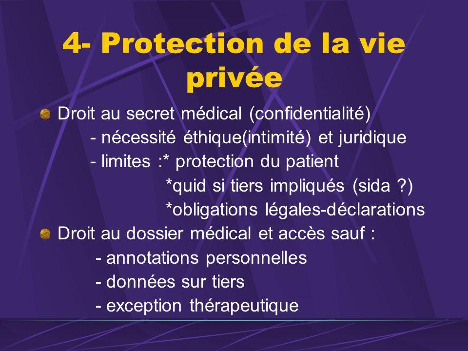 4- Protection de la vie privée