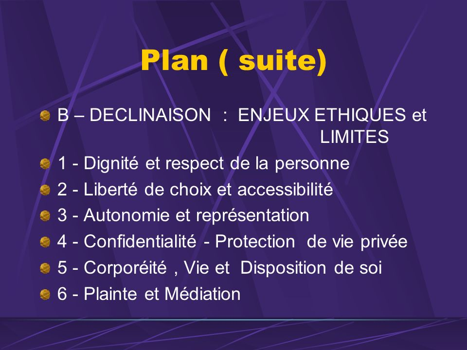 Plan ( suite) B – DECLINAISON : ENJEUX ETHIQUES et LIMITES