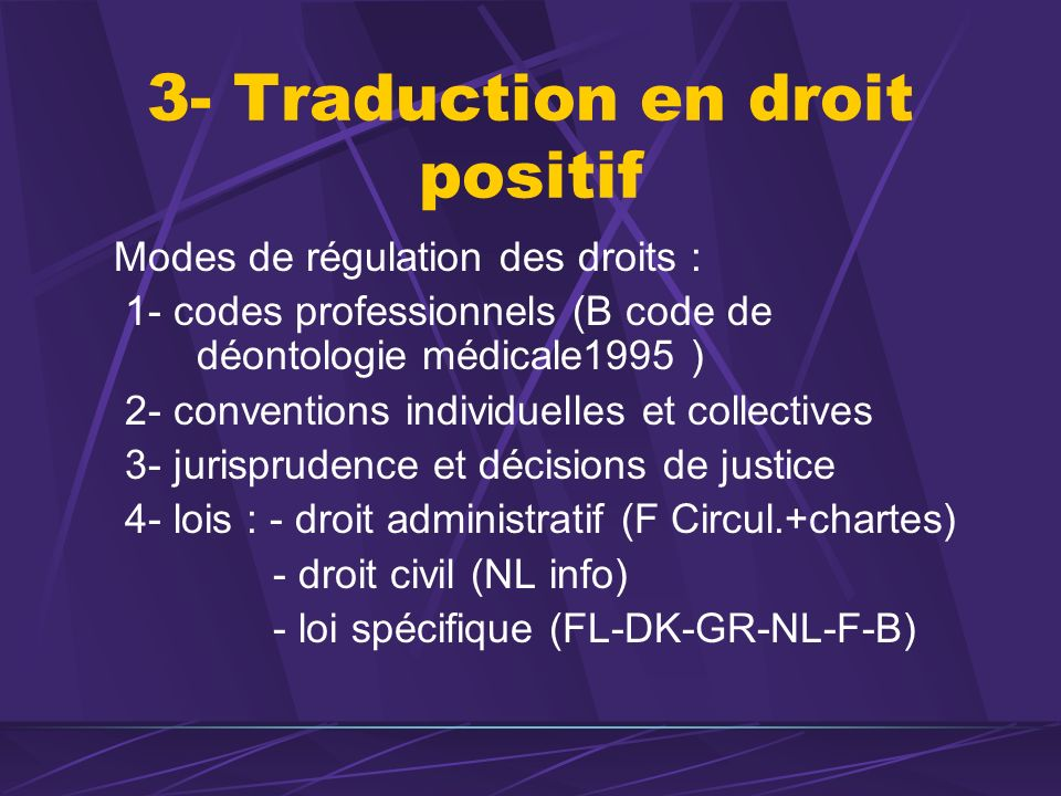3- Traduction en droit positif