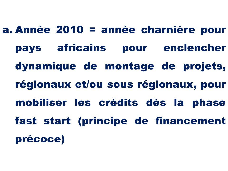 Année 2010 = année charnière pour pays africains pour enclencher dynamique de montage de projets, régionaux et/ou sous régionaux, pour mobiliser les crédits dès la phase fast start (principe de financement précoce)