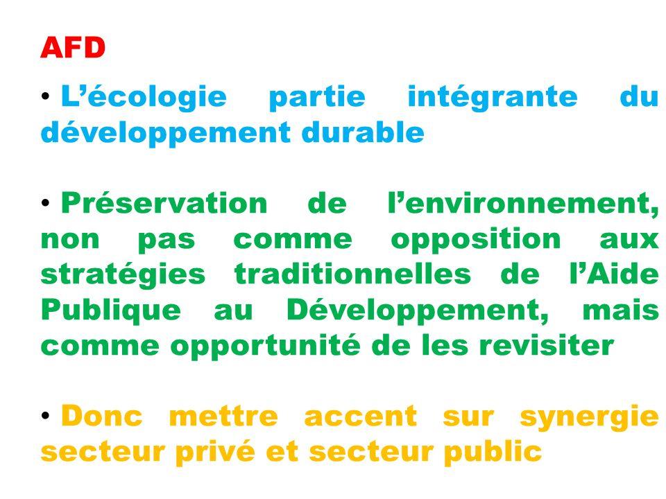 AFD L'écologie partie intégrante du développement durable.