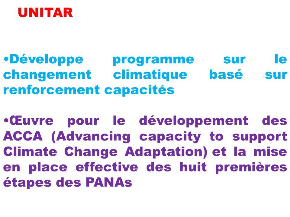 UNITAR Développe programme sur le changement climatique basé sur renforcement capacités.