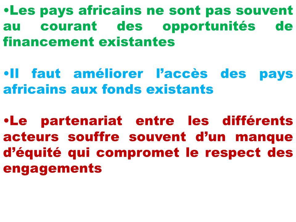 Les pays africains ne sont pas souvent au courant des opportunités de financement existantes