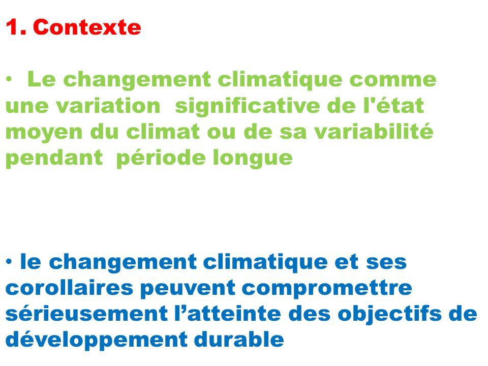 Contexte Le changement climatique comme une variation significative de l état moyen du climat ou de sa variabilité pendant période longue.