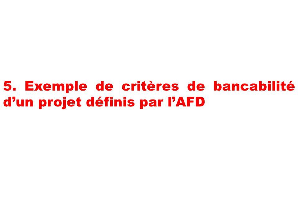5. Exemple de critères de bancabilité d'un projet définis par l'AFD