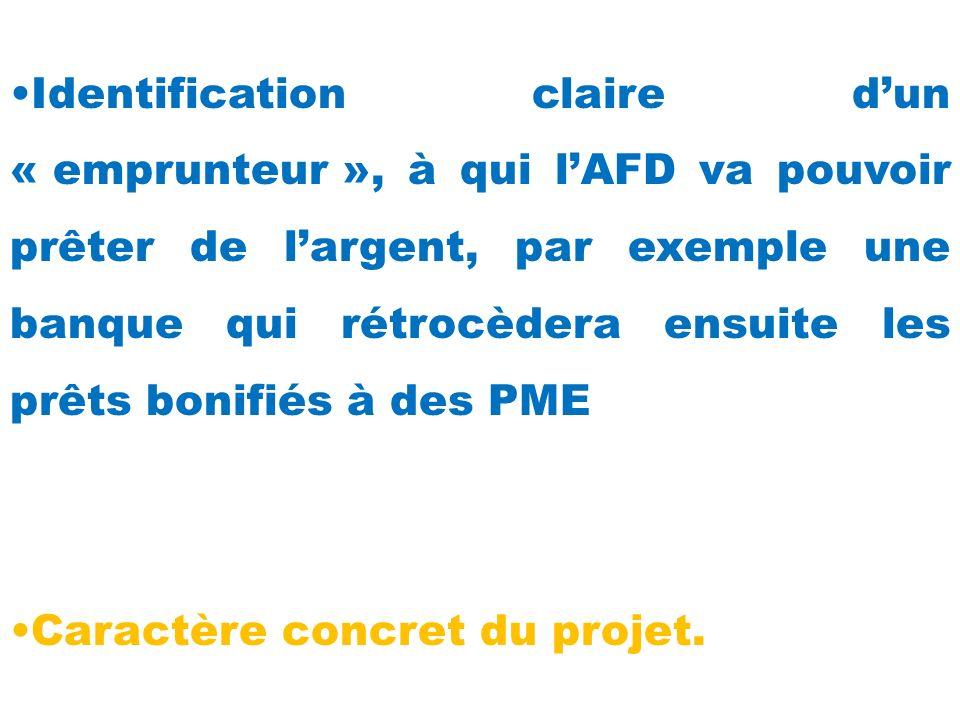 Identification claire d'un « emprunteur », à qui l'AFD va pouvoir prêter de l'argent, par exemple une banque qui rétrocèdera ensuite les prêts bonifiés à des PME