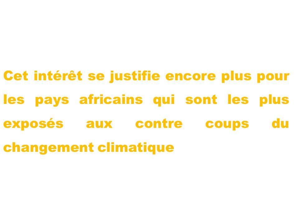 Cet intérêt se justifie encore plus pour les pays africains qui sont les plus exposés aux contre coups du changement climatique