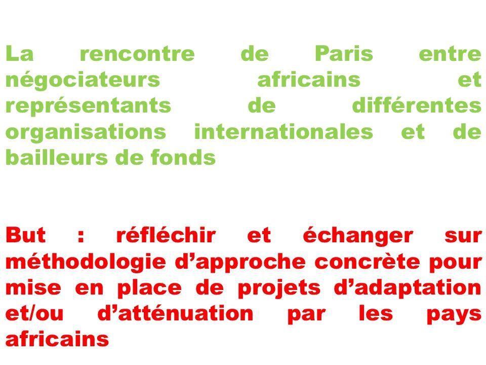 La rencontre de Paris entre négociateurs africains et représentants de différentes organisations internationales et de bailleurs de fonds