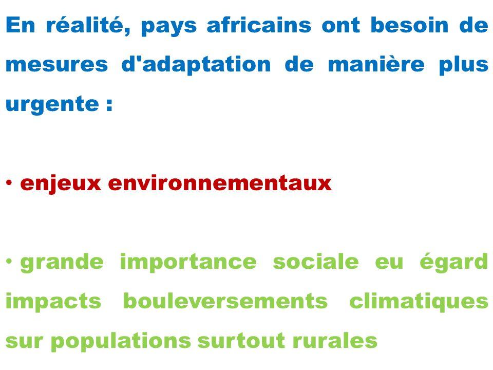 En réalité, pays africains ont besoin de mesures d adaptation de manière plus urgente :