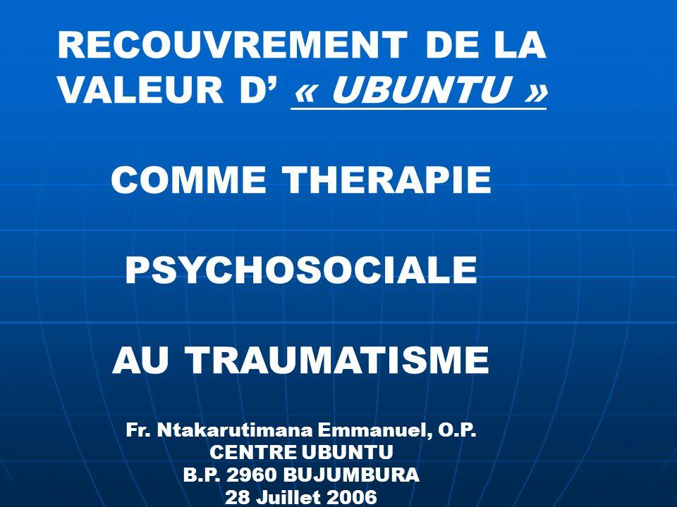 RECOUVREMENT DE LA VALEUR D' « UBUNTU »