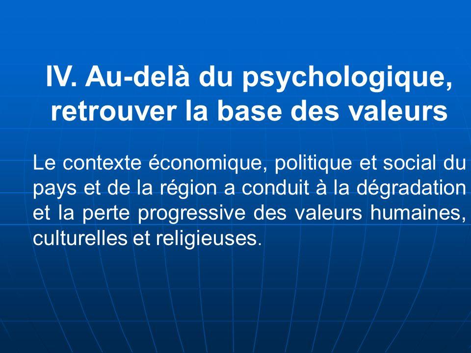 IV. Au-delà du psychologique, retrouver la base des valeurs