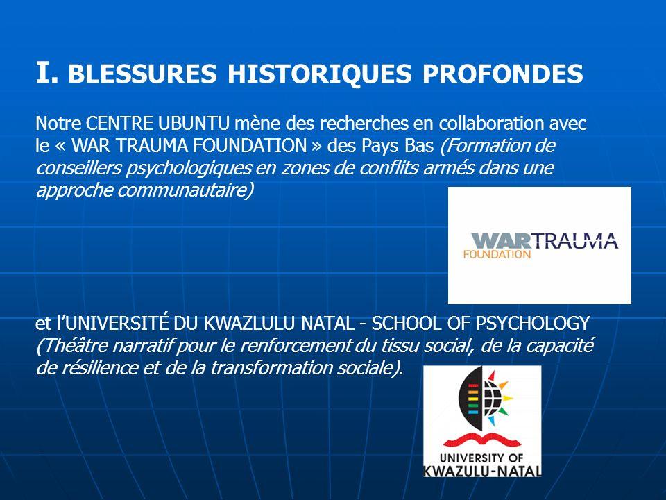 I. BLESSURES HISTORIQUES PROFONDES