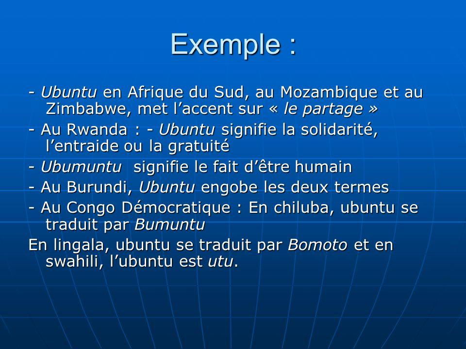 Exemple : - Ubuntu en Afrique du Sud, au Mozambique et au Zimbabwe, met l'accent sur « le partage »