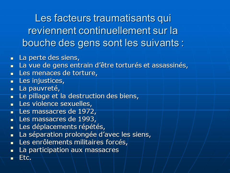 Les facteurs traumatisants qui reviennent continuellement sur la bouche des gens sont les suivants :
