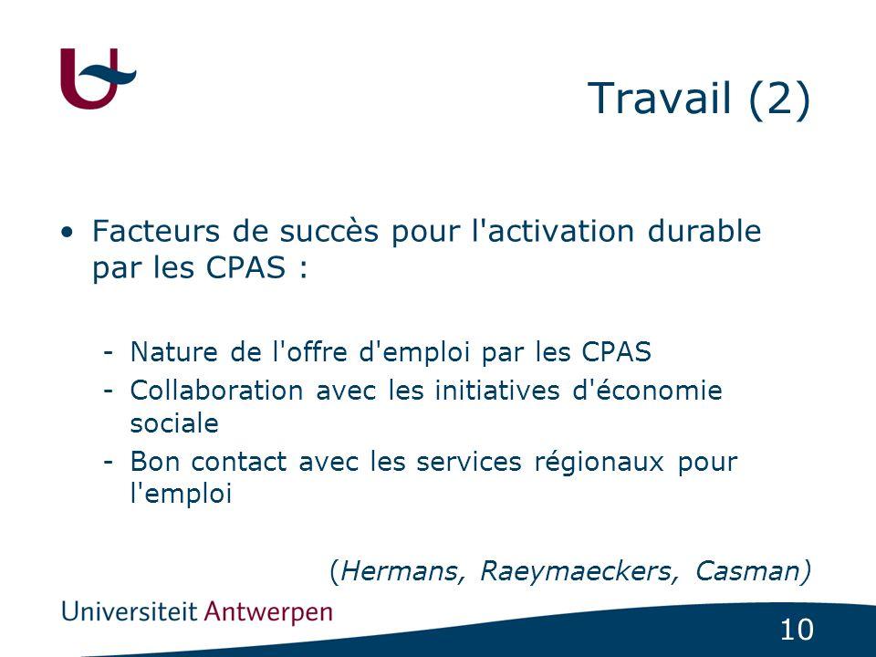 Travail (2) Facteurs de succès pour l activation durable par les CPAS : Nature de l offre d emploi par les CPAS.