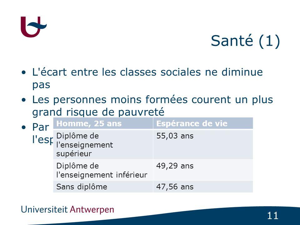 Santé (1) L écart entre les classes sociales ne diminue pas