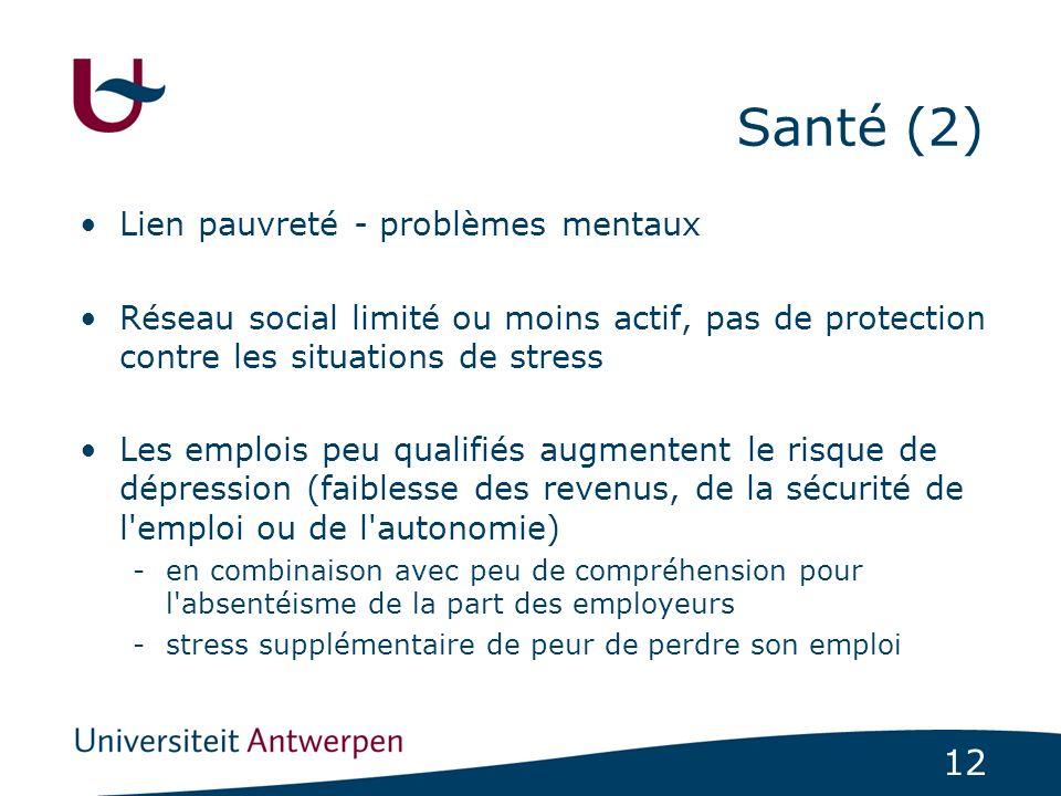 Santé (2) Lien pauvreté - problèmes mentaux