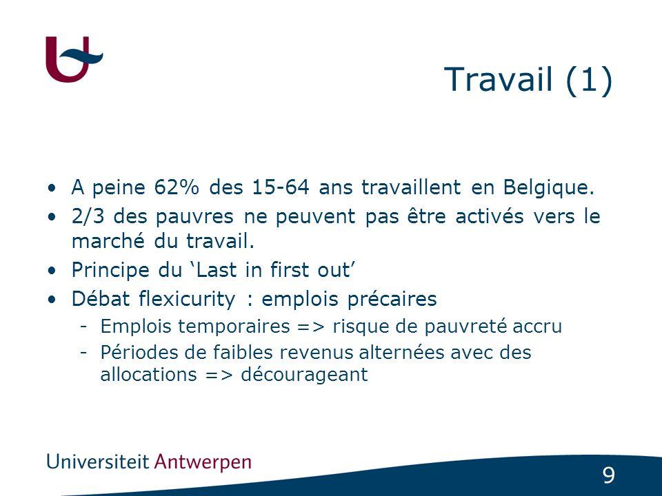Travail (1) A peine 62% des 15-64 ans travaillent en Belgique.