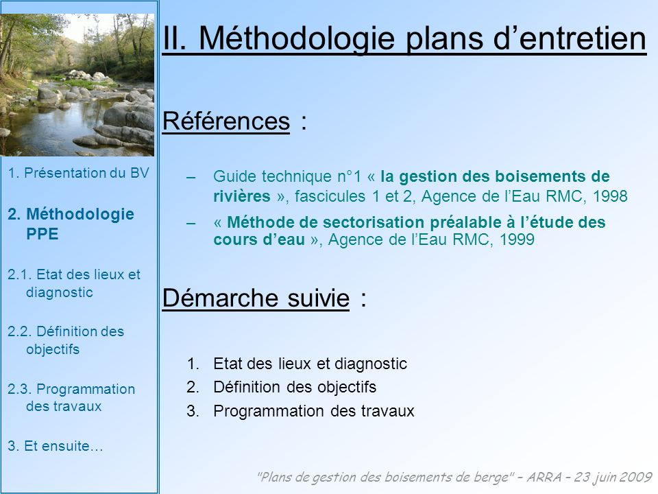 II. Méthodologie plans d'entretien