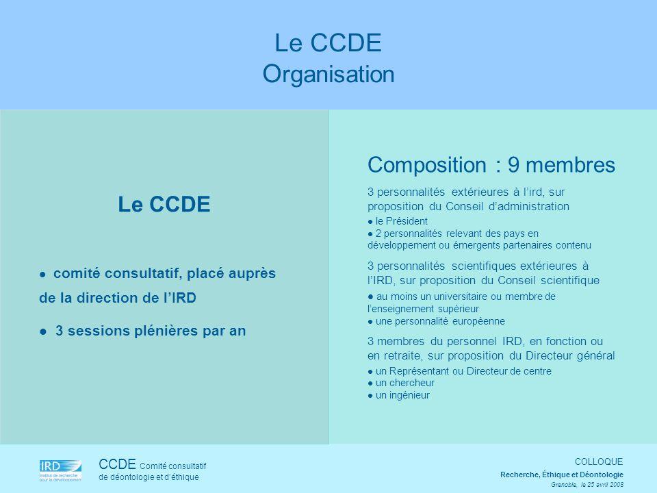 Le CCDE Organisation Composition : 9 membres Le CCDE
