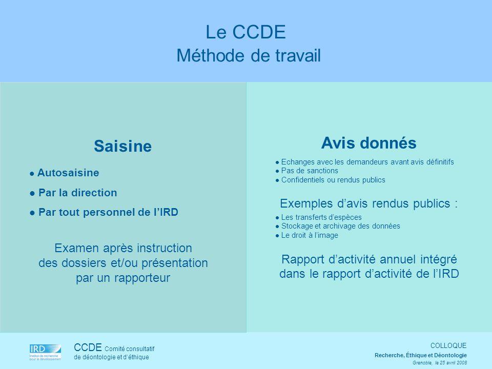 Le CCDE Méthode de travail