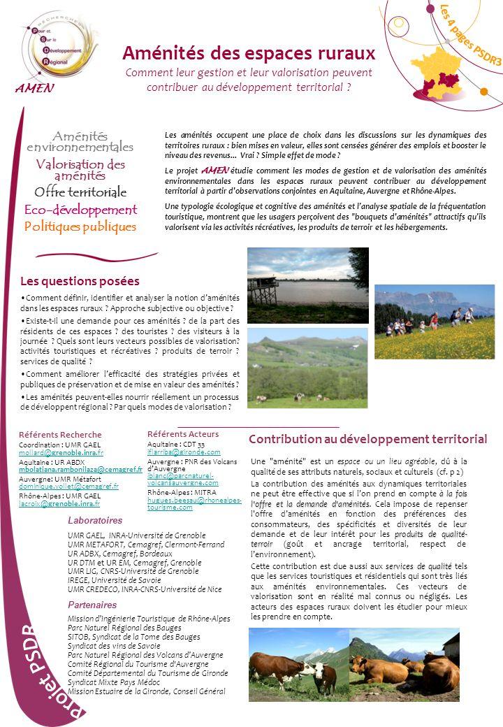 Les 4 pages PSDR3 Aménités des espaces ruraux Comment leur gestion et leur valorisation peuvent contribuer au développement territorial