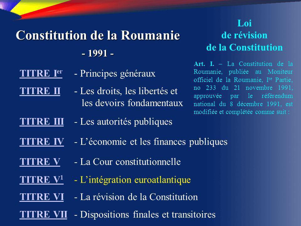 Constitution de la Roumanie