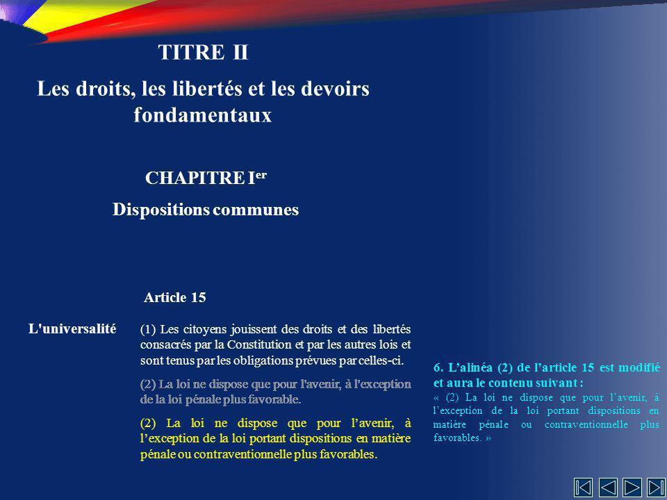 TITRE II Les droits, les libertés et les devoirs fondamentaux