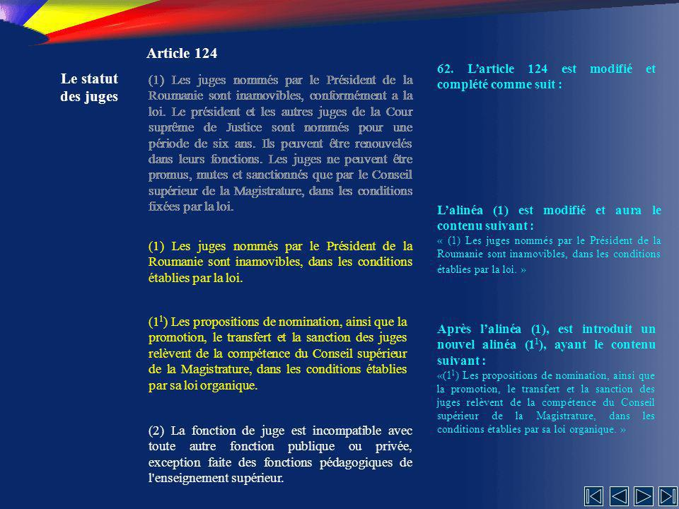 Article 124 Le statut des juges